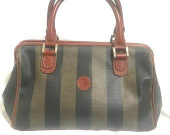 adcfa4db5282 Vintage FENDI pecan stripe Speedy style handbag