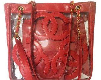 edbbc2eafaba Vintage CHANEL clear vinyl and red leather combination shoulder purse