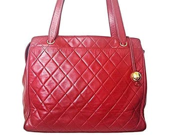 cad8695a7b Vintage CHANEL deep red color classic quilted lamb leather tote bag with  golden CC ball charm. Large size purse for daily use.