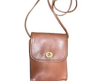 0b1d1b71b1 Vintage COACH genuine brown leather mini shoulder bag vertical rectangular  shape. classic purse. Made in USA
