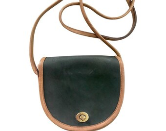 3de028a11b Vintage COACH genuine khaki and brown leather mini shoulder bag in half  moon shape. classic purse. Made in USA