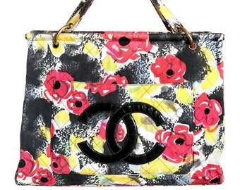 0d0b001ae78b Vintage CHANEL red, yellow, and black water color drawing design fabric  canvas large tote bag with black enamel CC mark. Rare masterpiece.