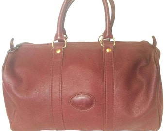 80 s Vintage Longchamp rare dark wine leather duffle bag 3bacb8a03db17