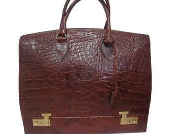 Vintage Mulberry croc embossed leather birkin doctor s bag style travel bag  with built-in jewelry case. Unisex. Special custom order. 5351904ff3058