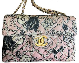 feff00fe769b6 Vintage CHANEL pink coated canvas 2.55 jumbo chain shoulder bag with hat