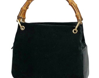 b8a6c5902 Vintage Gucci black suede leather handbag with bamboo handles. Classic purse  from Bamboo collection.