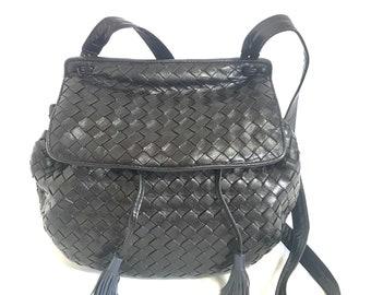 8e1b4821d49 Vintage Bottega Veneta dark navy intrecciato woven leather fisherman bag  style shoulder bag with fringes.