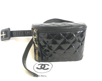 "28972a71bb0f Vintage CHANEL black patent enamel leather fanny pack, hip bag, party  clutch. Ariana Grande loves it too. Must have. Belt size 28""-30"""