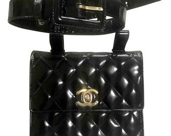 6da58d0309d0 Vintage CHANEL 2.55 black patent enamel fanny pack, belt bag with golden CC  motif. Belt size 26