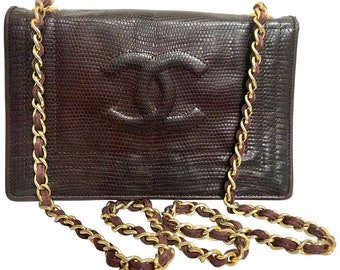 de82a89b231a Vintage CHANEL genuine dark wine brown lizard leather chain shoulder bag  with CC stitch mark. Classic rectangle purse.