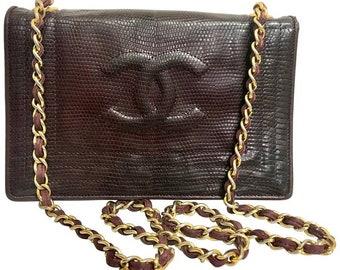 de82a89b231a Vintage CHANEL genuine dark wine brown lizard leather chain shoulder bag  with CC stitch mark. Classic rectangle purse.