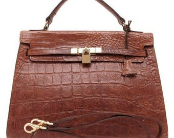 Vintage Mulberry croc embossed leather Kelly bag with shoulder strap. Roger  Saul era. Rare masterpiece you must get. 580580737ddbb