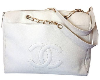 1f4b127b6dd5 Vintage CHANEL white caviar leather chain shoulder large shoulder bag, tote  bag with golden chain handles and large CC stitch mark. Classic.