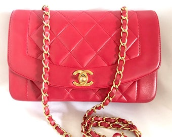7a30beec26f11 Vintage CHANEL lipstick red lambskin classic 2.55 flap chain shoulder bag