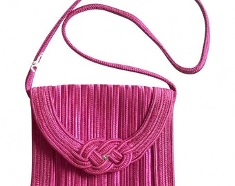 e9bd50729cfd Vintage Nina Ricci hot pink tape fabric shoulder bag/clutch purse with  Japanese obi motif and golden logo. So chic. Rare piece.