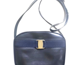e299dc6eca93 Vintage Salvatore Ferragamo dark navy leather shoulder bag with golden logo  embossed motif from vara collection. Classic purse.