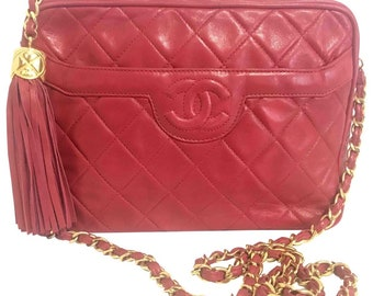 dfeb5eac171a Vintage Chanel red lambskin camera bag style chain shoulder bag with fringe  and CC stitch mark. Classic daily purse.