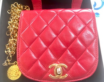cb6b4fecd430 Vintage CHANEL oval shape 2.55 lipstick red lamb leather waist/belt bag, fanny  pack with detachable golden chain belt and CC motif.