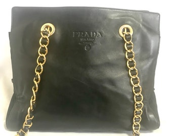 6593c015dca4e9 Vintage Prada black nappa leather and nylon combo chain shoulder bag with  double chain straps. Classic purse back in the era.