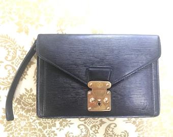 682fafbfa9e6 Vintage Louis Vuitton classic epi black leather wristlet clutch bag
