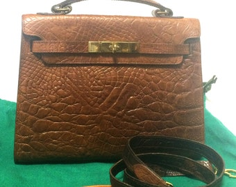 9360f55cc35 Vintage Mulberry croc embossed brown leather Kelly bag with shoulder strap.  Roger Saul era. Rare masterpiece you must get.