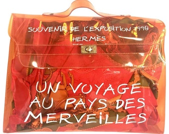 cc361e3d45f2 Vintage Hermes a rare transparent orange vinyl Kelly bag Japan Limited  Edit. Rare and collectible bag from 90 s Hermes exhibition.