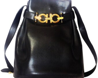 8eb279cb3d86 Vintage Salvatore Ferragamo dark navy leather hobo style shoulder bag with gancini  gold tone closure. Masterpiece for daily use.