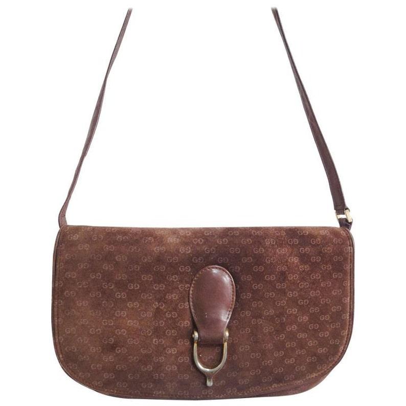d6e84c6bf8c88d Vintage Gucci dark brown suede leather clutch shoulder bag | Etsy
