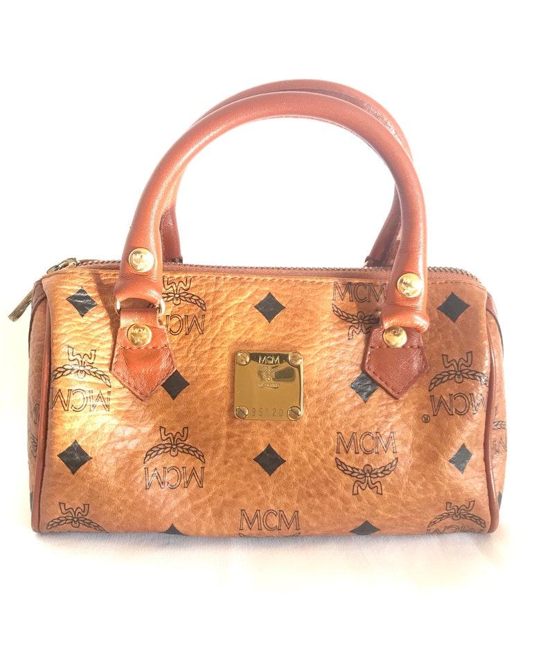 61783b7f8 Vintage MCM classic brown monogram mini speedy bag. Must have | Etsy
