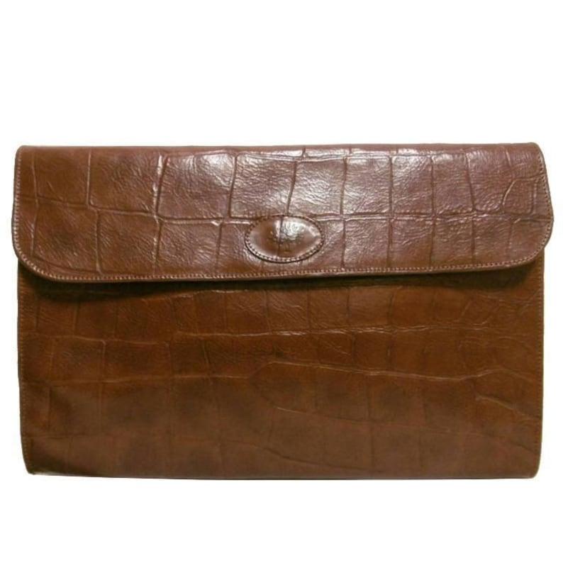 132c55b1d2 Vintage Mulberry brown croc embossed leather portfolio bag