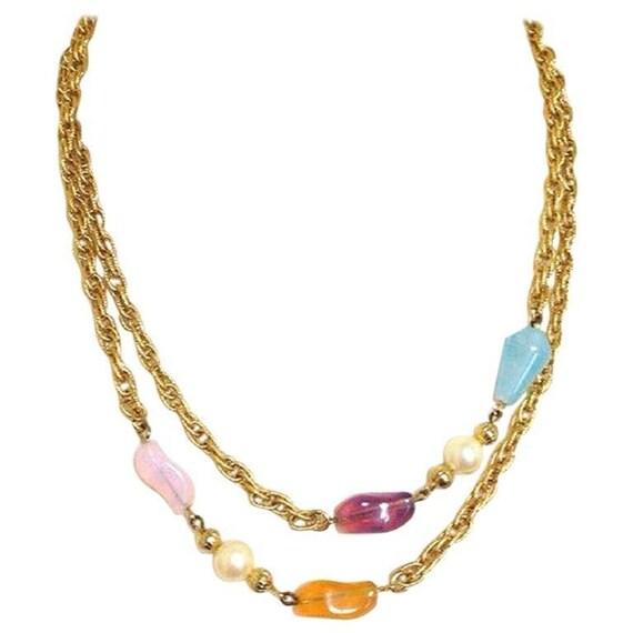 MINT. Vintage Givenchy Paris New York gold tone long chain  b134845c9879a