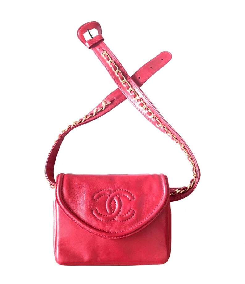 ec39045d8f48c Vintage CHANEL lipstick red fanny pack leather belt bag with