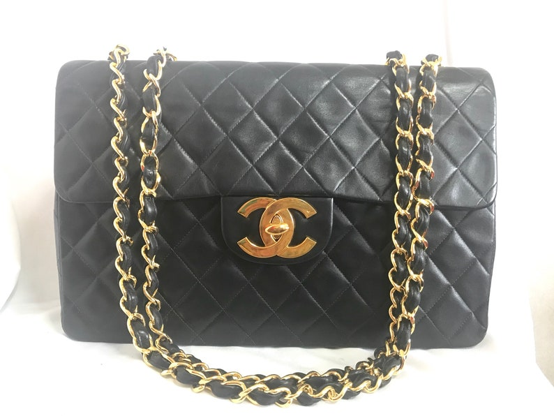 4fb2d9bf4b1a8 Vintage CHANEL black lamb leather large jumbo classic flap