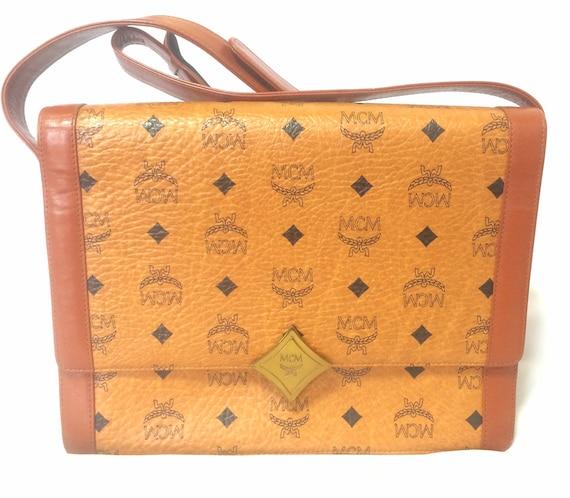 d09fe8b2f Vintage MCM brown monogram square shoulder bag with leather | Etsy