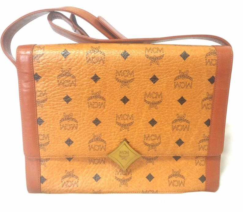 ec6b916d35944a Vintage MCM brown monogram square shoulder bag with leather | Etsy