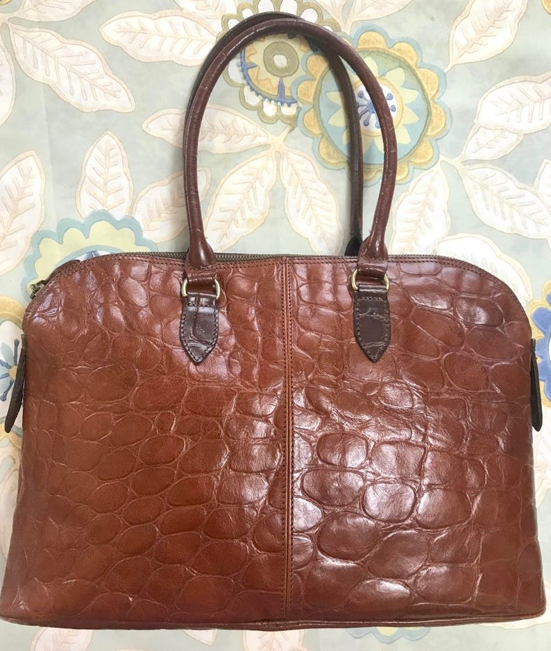 55d055b33c08 Vintage Mulberry croc embossed brown leather large tote in