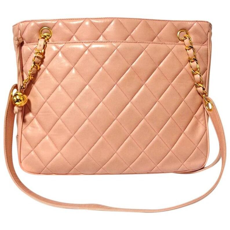 ad70dd1e0eaf Vintage CHANEL milky pink lambskin shoulder tote bag with gold | Etsy