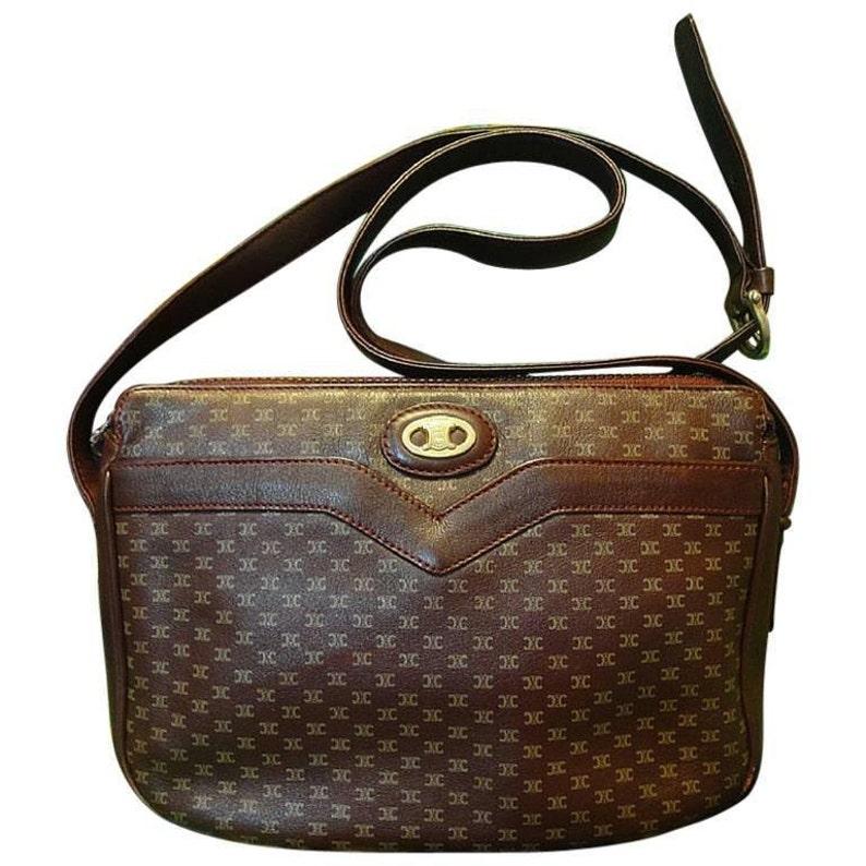 80 s vintage Celine shoulder purse in bordeaux burgundy  55cdefa2e06f1