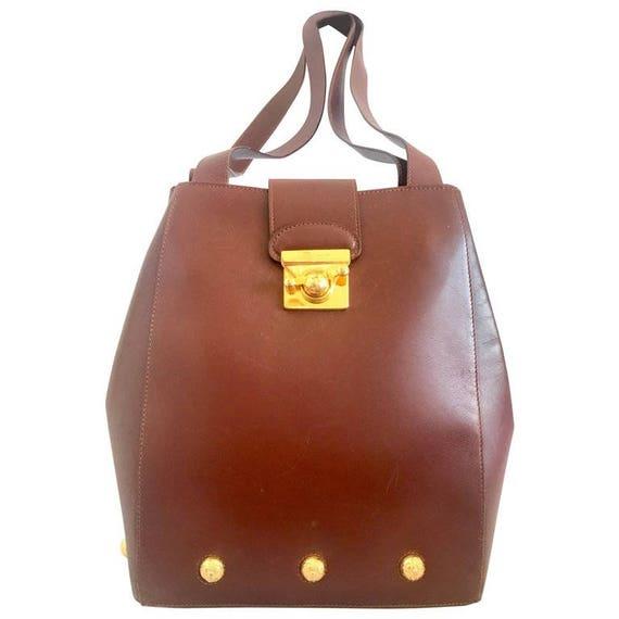Vintage Salvatore Ferragamo brown leather purse with gold tone   Etsy e4c5831469