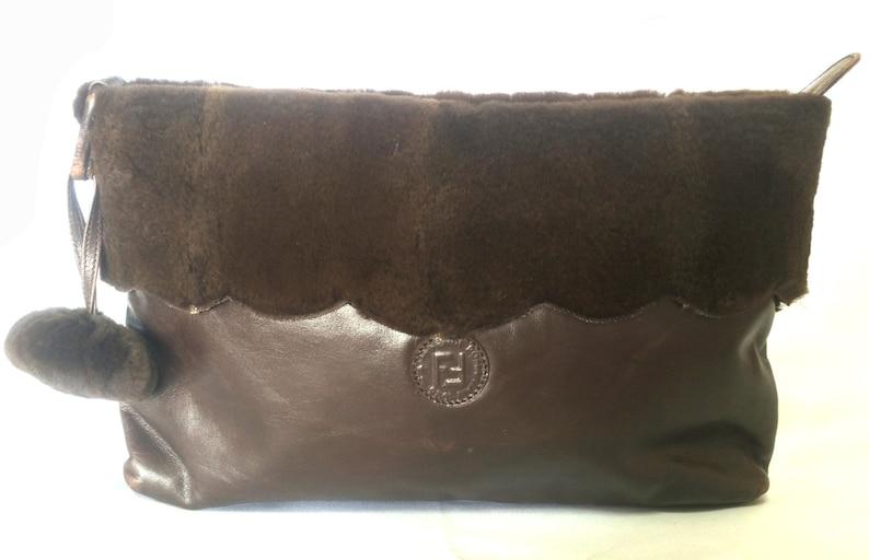 446f2a43cb 80 s vintage Fendi dark brown large leather clutch purse