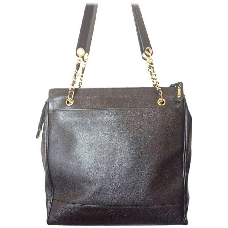 b06d265bda48 Vintage CHANEL black caviarskin chain large tote bag shoulder | Etsy