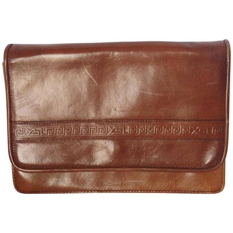 2c678a01b344 Vintage Yves Saint Laurent genuine brown leather mini document