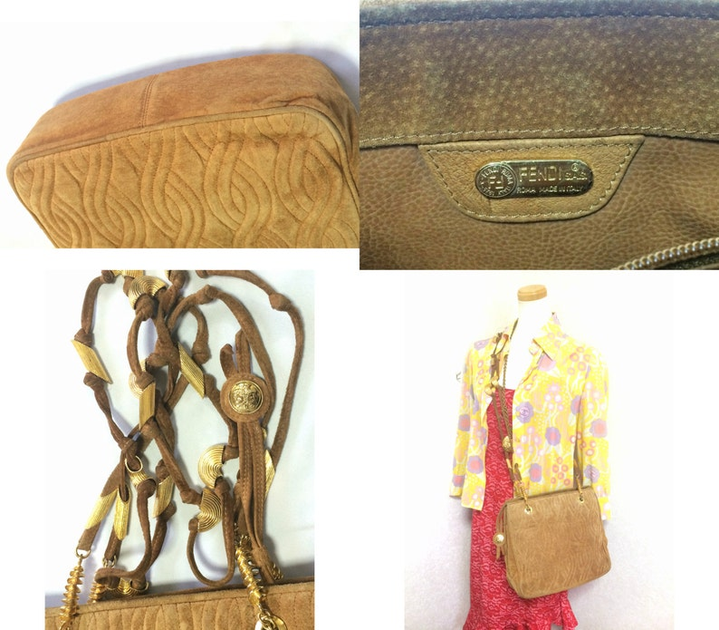 45b720743a Vintage Fendi tanned brown suede bag with twist rope stitch