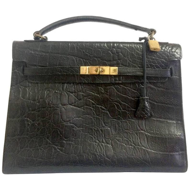 2cad4148526 Vintage Mulberry croc embossed black leather Kelly bag.