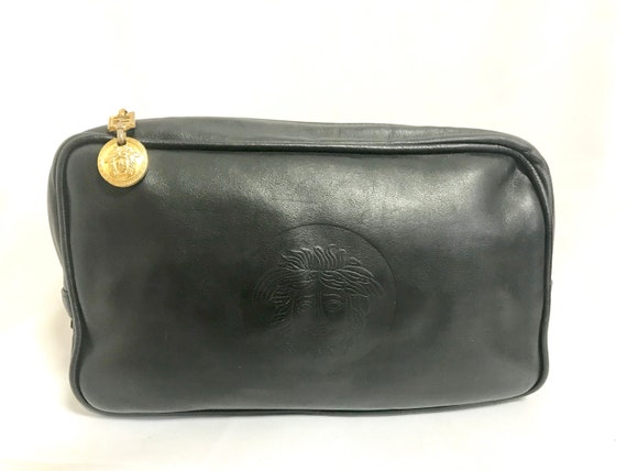 004b12ce4357 Vintage Gianni Versace black leather purse pouch case bag