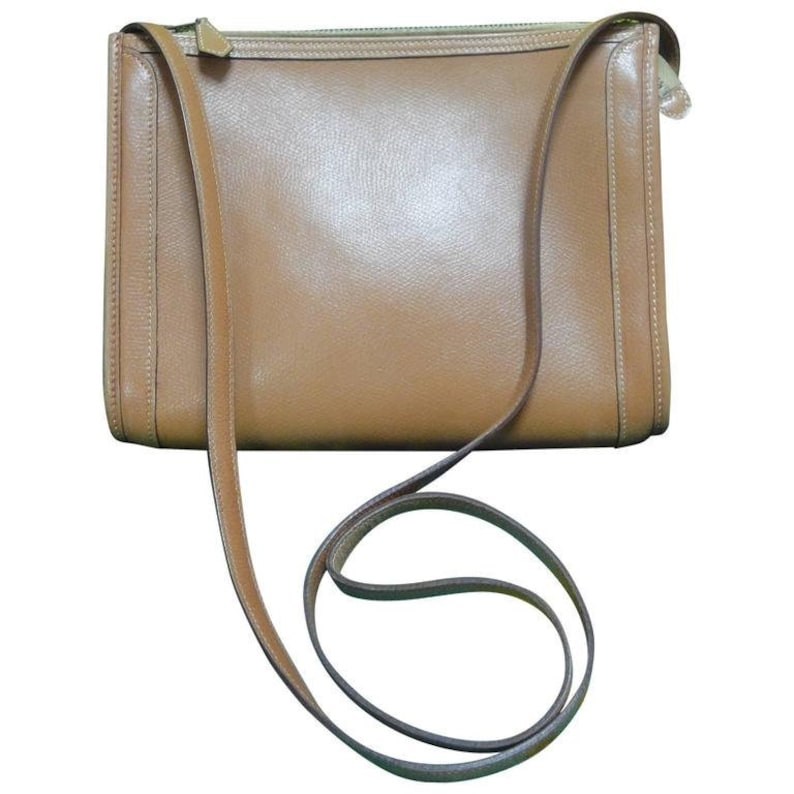 80 s vintage HERMES tanned brown courchevel leather  0ee135483d891