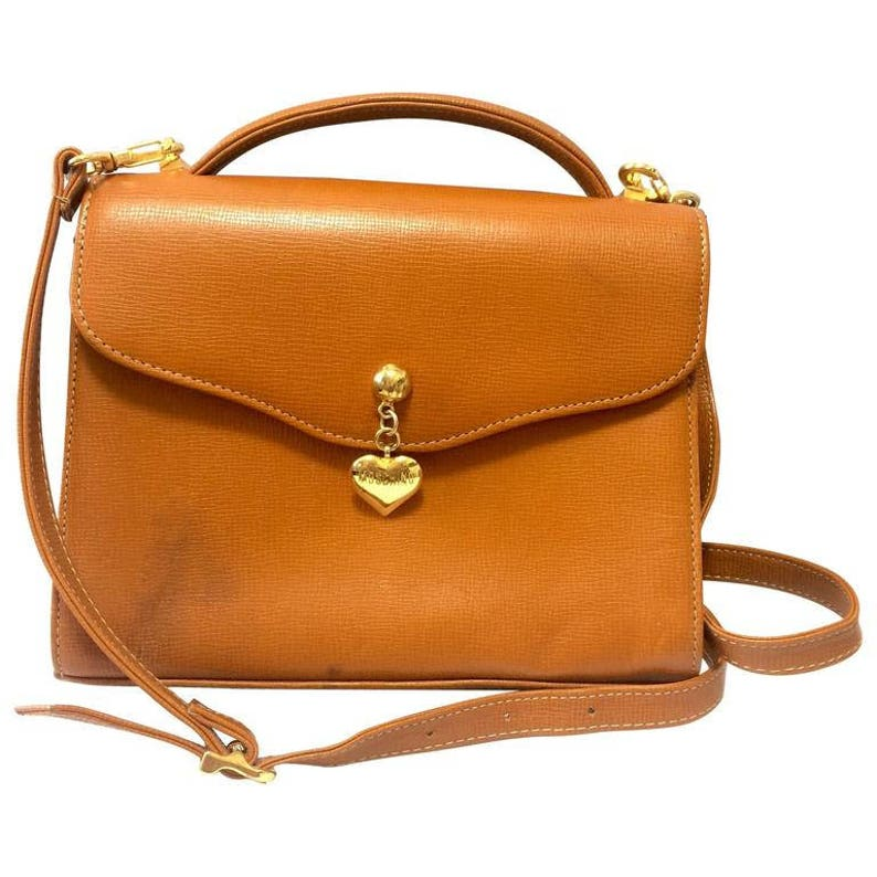 Vintage MOSCHINO orange brown grained leather kelly handbag  4b29095c67bc9