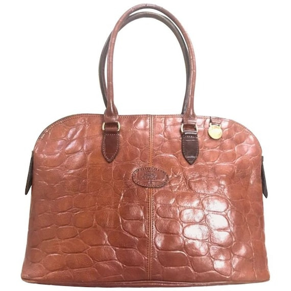 Vintage Mulberry croc embossed brown leather large tote in   Etsy 603c948d0c