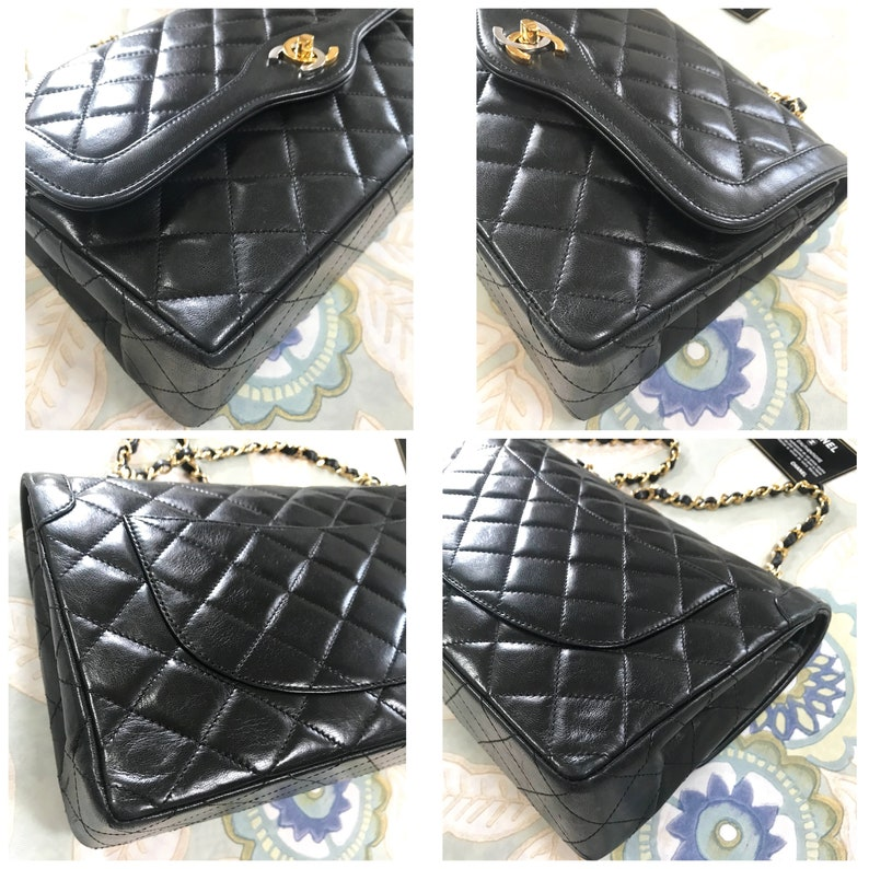 c753b6a05700b Vintage Chanel black 2.55 classic double flap bag with gold