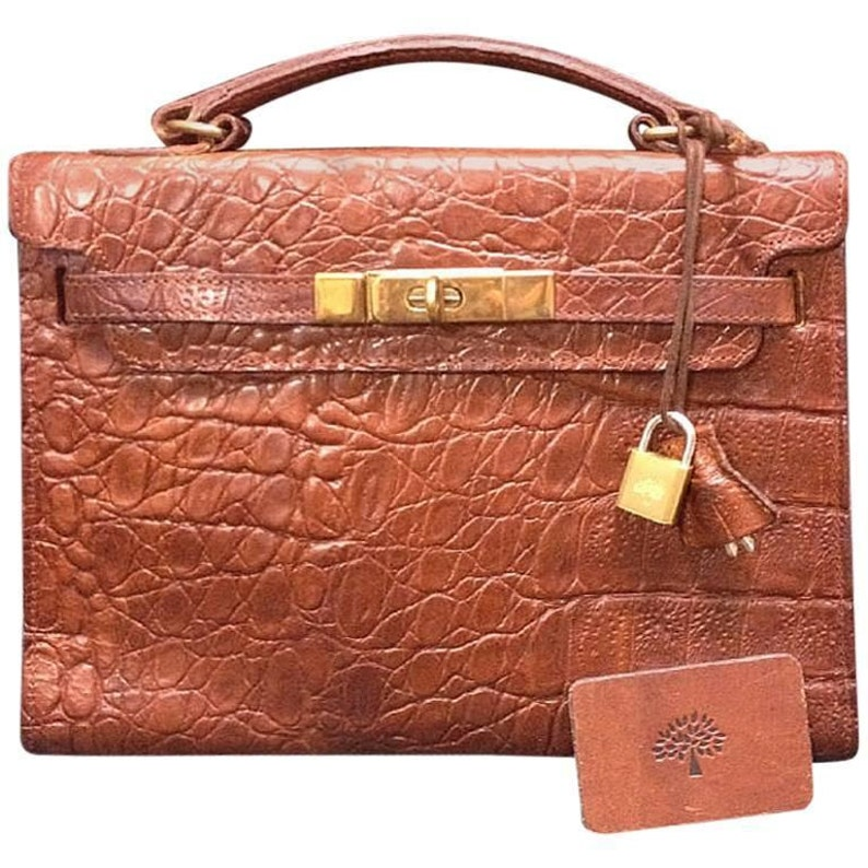 d9a6c6f646 Vintage Mulberry croc embossed brown leather Kelly bag with